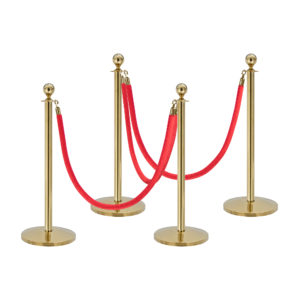 QueueWay Classic Line Post Bundle (Set of 4 with 3x Ropes)