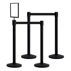 QueueWay Retractable Belt Stanchion Bundle (Set of 4 with Sign)